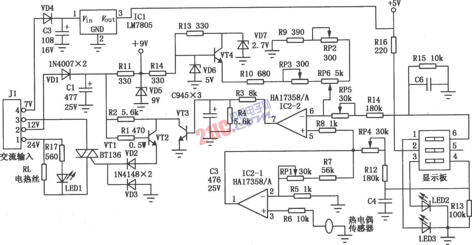 电烙铁恒温控制器电路图