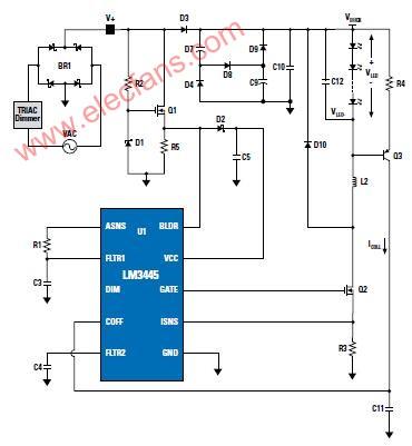 LM3445―支持TRIAC调光的PowerWise 离线式LED驱动器