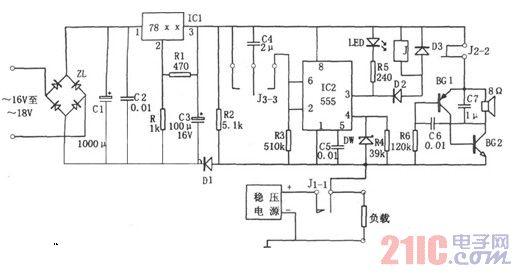 555构成的直流稳压电源保护装置电路图