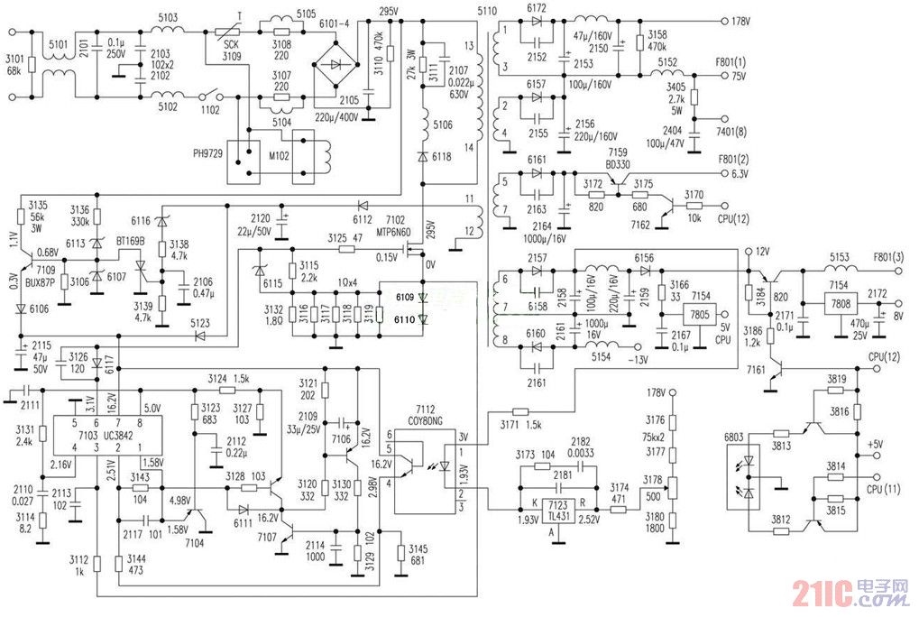 飞利浦显示器电源电路图