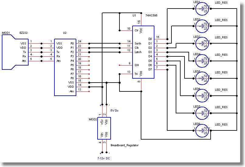 74HC595驱动8个LED电路图