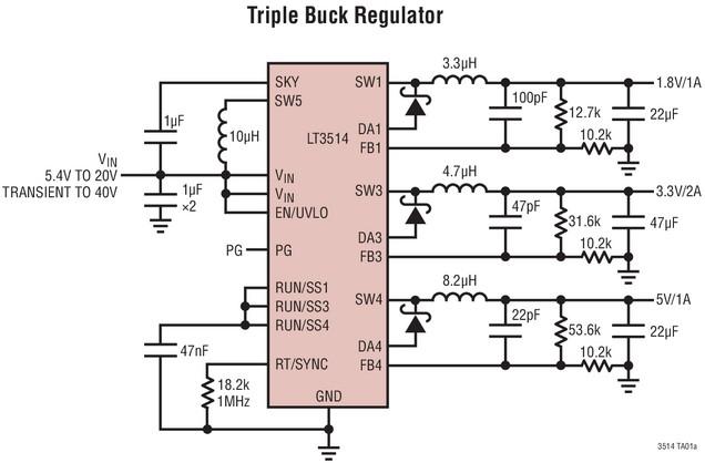 LT3514: 三路降压稳压器
