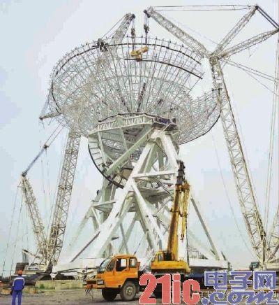 上海65米射电望远镜顺利完成天线吊装