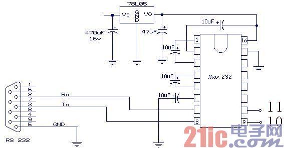 C51单片机串口通讯的硬件电路图