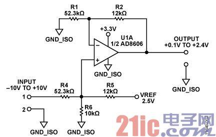 用于±10 V输入的12位、300 kSPS、单电源、完全隔离式数据采集系统