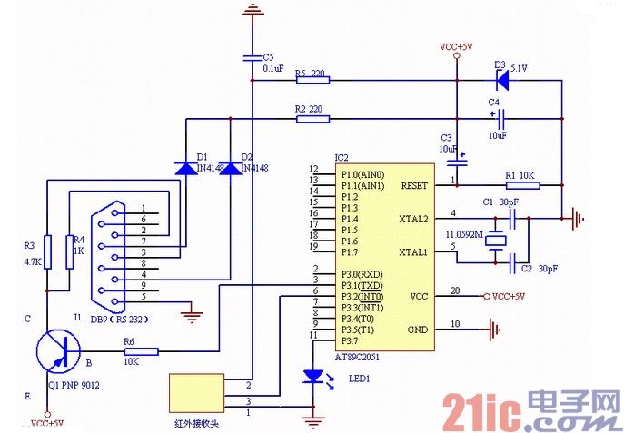 简单的2051单片机电脑遥控器电路图