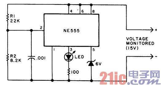 电池供电设备的欠压指示器电路图