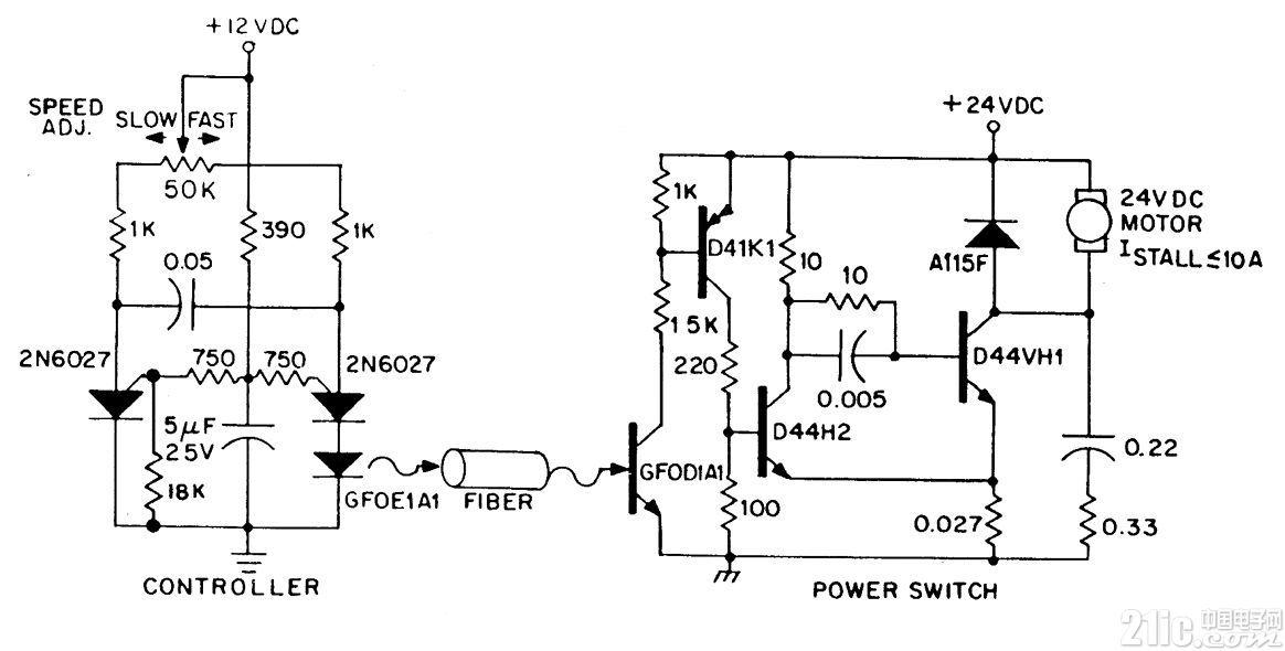 通过光纤控制的直流变速电机电路图