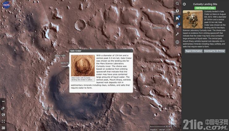 嫌Google Earth探索火星太low?快来用NASA专业版吧