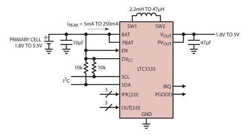 图 2:LTC3335 毫微功率降压-升压型转换器的典型应用原理图