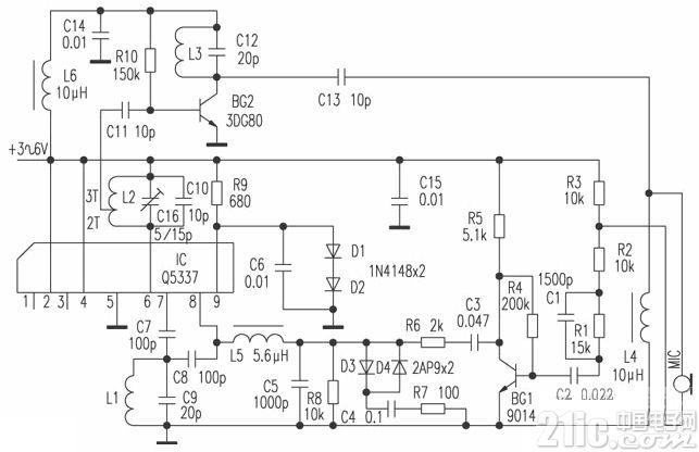 采用Q5337的无线调频(FM)话筒电路图