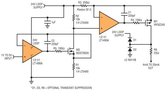 将 1V 至 5V 信号转换为 4mA 至 20mA 输出