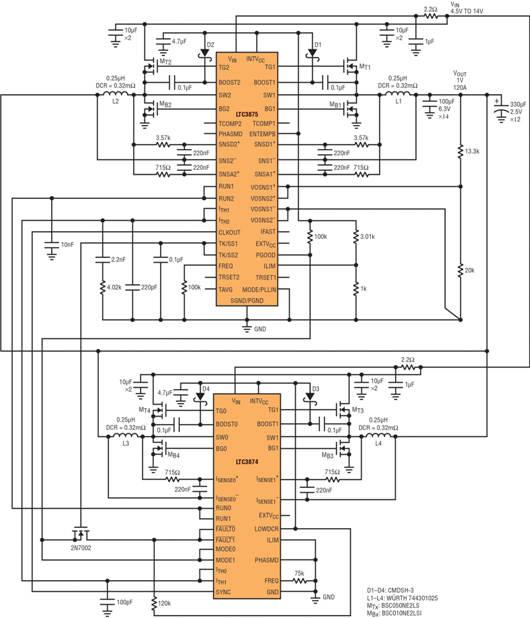 图 5:采用 LTC3875 和 LTC3874 的单输出、四相 (1.0V/120A) 转换器