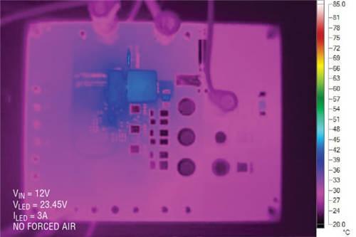 图 2:升压模式 LED 热扫描显示了低温升操作
