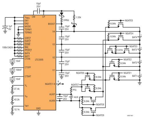 图 2:完整的四电池平衡器