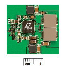 图 3:LT8602 四输出解决方案占板面积 (2x实际尺寸)