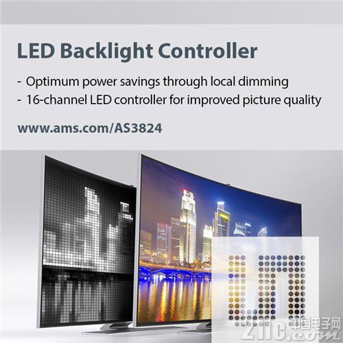 艾迈斯半导体推出16通道LED背光灯控制器改善电视画质并降低能耗
