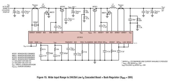 LTC7813 宽输入范围至 24V/5A 输出的低 Iq 级联升压 + 降压稳压器 (VMID = 28V)