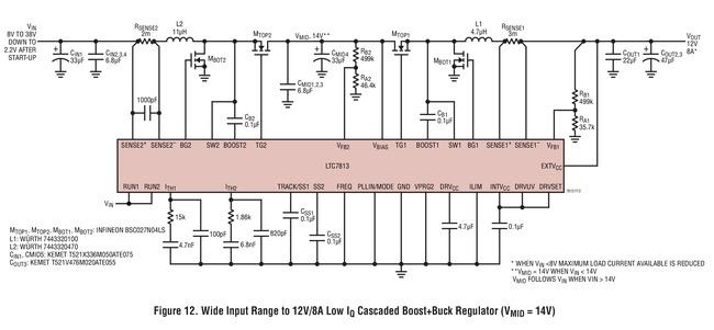 LTC7813 宽输入范围至 12V/8A 输出的低 Iq 级联升压 + 降压稳压器 (VMID = 14V)