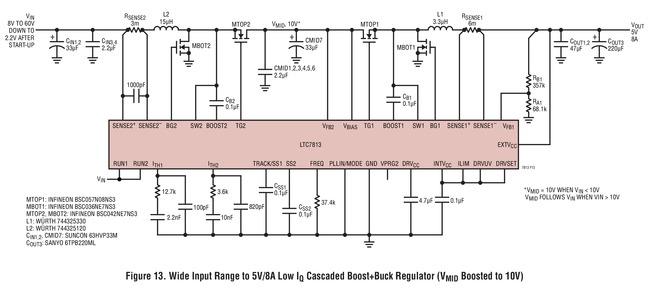 LTC7813 宽输入范围至 5V /8A 输出的低 Iq 级联升压 + 降压稳压器 (VMID = 10V)