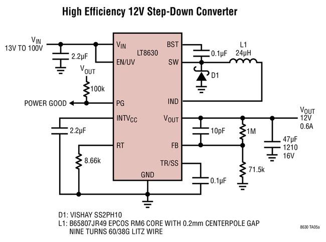 LT8630 高效率 100Vin、12Vout 降压型转换器