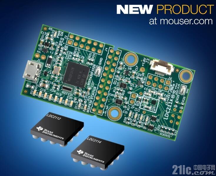 贸泽抢先备货Texas Instruments LDC2114 EVM 为电感式触摸传感应用开发省时省力