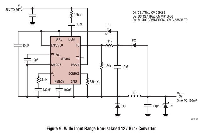LT8315 宽输入范围非隔离 12V 降压型转换器