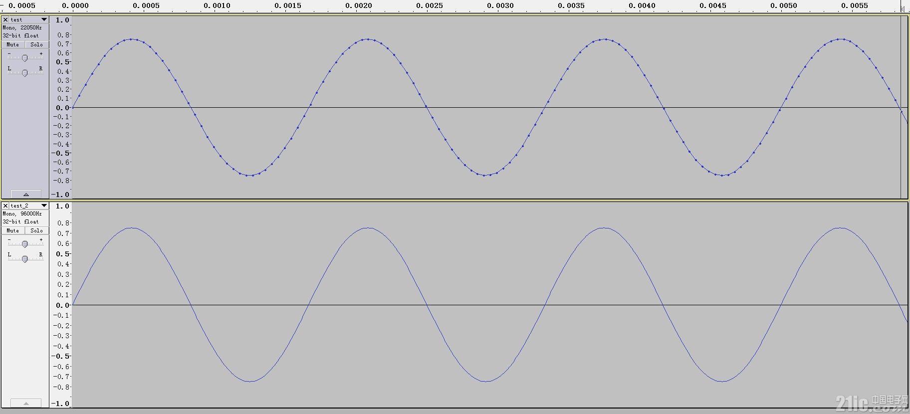 图 22050采样率的波形对比96000采样率的波形.jpg