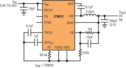采用纤巧 QFN 封装的 42V 高功率密度降压型稳压器