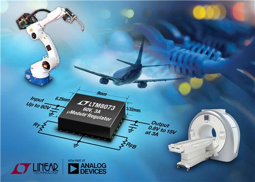 60V、3A Silent Switcher μModule 稳压器 采用 6.25mm x 9mm BGA 封装并符合 CISPR 22 Class B 要求
