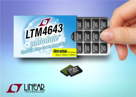 四通道 3A、超薄型 μModule 电源模块稳压器为 PCB 板的背面空间量身打造