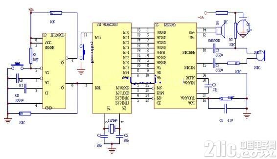AT89C2051控制语音芯片录放音系统电路图