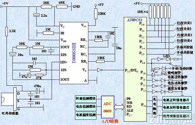 红外线自动门控制系统原理图