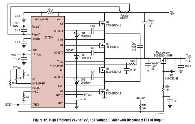 LTC7820 高效率 24V 至 12V、15A 分压器具输出断接 FET