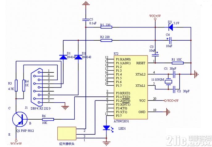 2051单片机电脑遥控器电路图