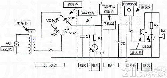 简单实用的遥控器检测仪电路图