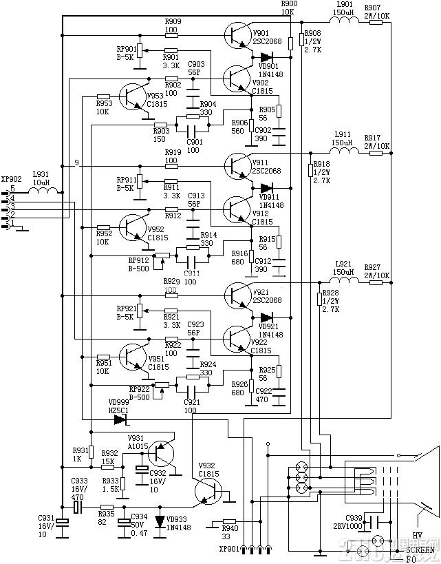 彩电视放分立元件应用电路