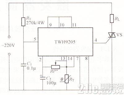 TWH9205温度控制器电路如图
