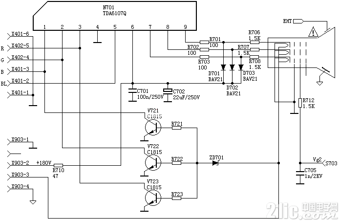 TDA6107彩电视放应用电路