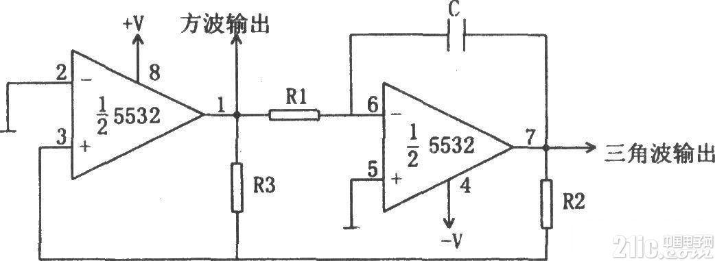 5532组成的方波和三角波振荡器电路
