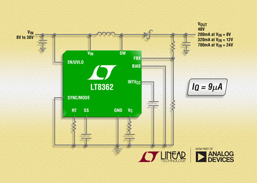 具 9μA �o�B�流的 2A、2MHz、 60V 升�� / SEPIC / ��出 DC/DC �D�Q器 LT8362