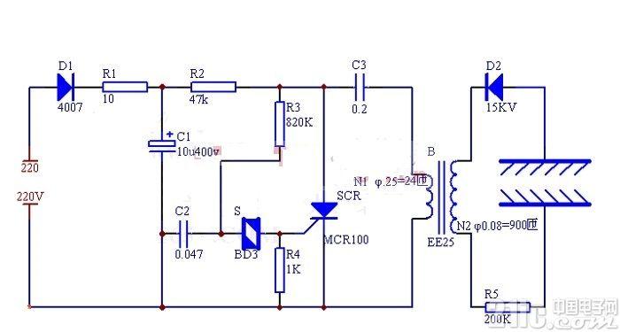 简易制作负离子发生器电路图