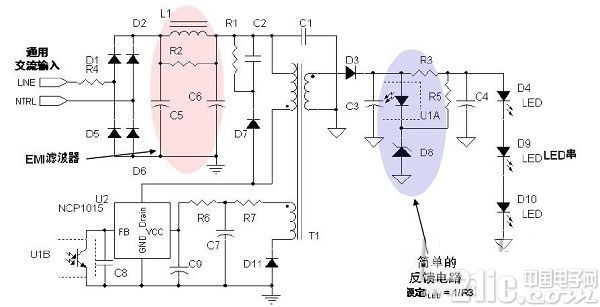 8W LED 驱动应用电路示电图(输入电压为85 至264V)