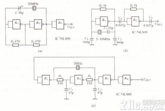 三种与非门组成的晶体振荡器电路图