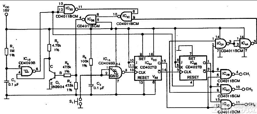 三选一的信号开关,多路开关 CD4027多路开关