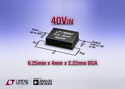 采用 6.25mm x 4mm BGA 封装的 40V<sub>IN</sub>、2A Silent Switcher µModule 稳压器 LTM8063