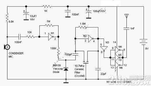 使用非门电路制作的调频话筒(英文),FM Transmitter Using Logic Gates