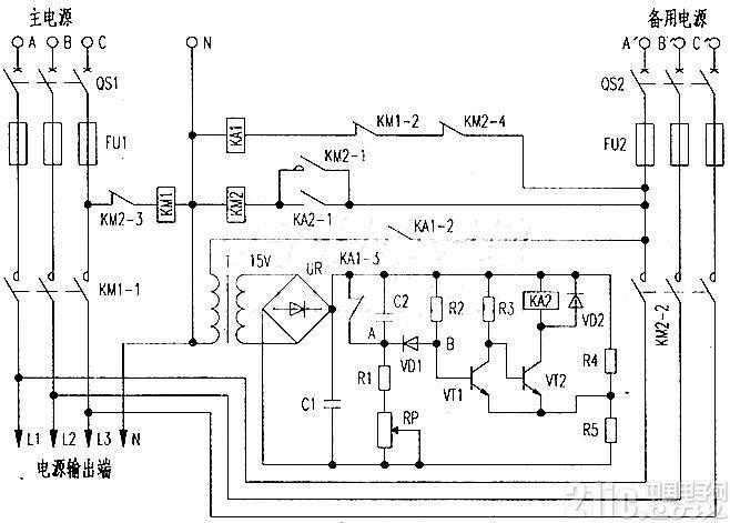 三相电源断电自投电路原理,备用电源自投控制电路