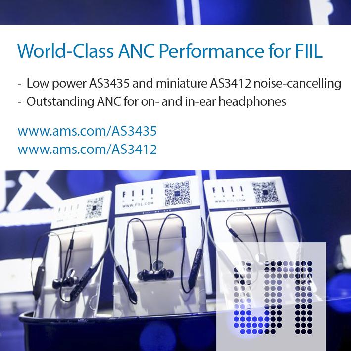 艾迈斯半导体音频芯片为潮流品牌FIIL的两款新型无线耳机提供世界级的降噪性能