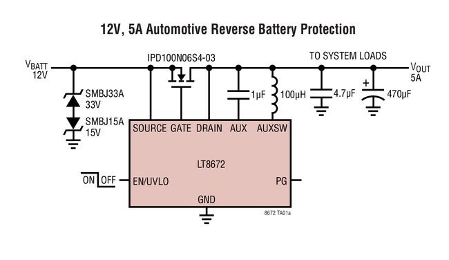 LT8672 12V、5A汽车反向电池保护
